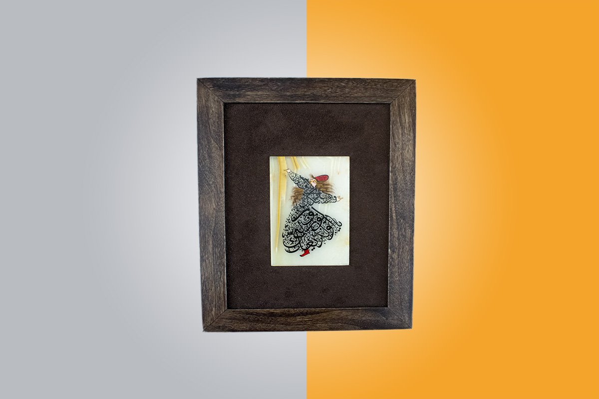 Watercolour Painting On Marble Which Is Decorated With Wooden Framed. The Design Feature The Iconic Sama Dance. Sama Is A Special Form Of Praying. The Typography Art Technique Is Used.