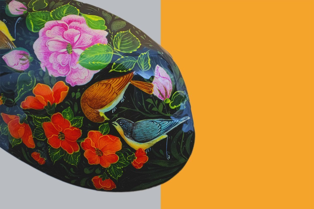Watercolour Painting On Natural Seashell. The Design Features Mystical Persian Garden. Includes Three Nightingales Among Flowers.