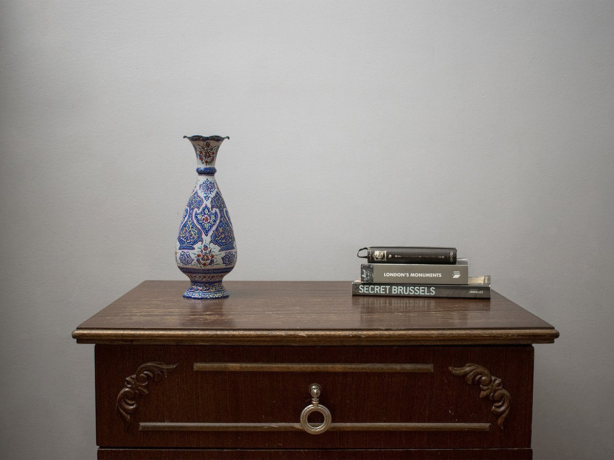 Persian Enamel (Minakari) Decorative Table Vase Is Made Of Copper And Has Floral Pattern On White Background