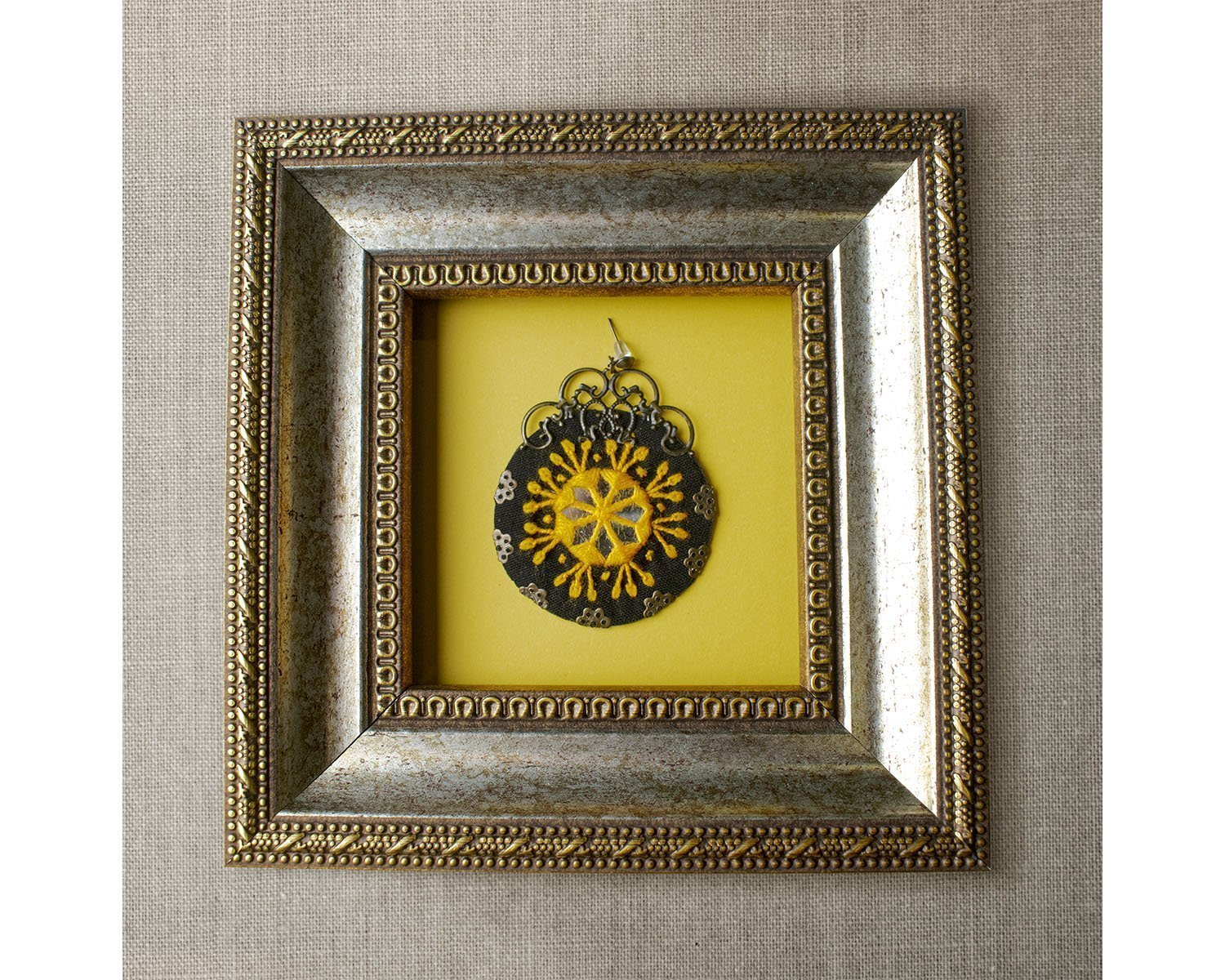 Balochi Embroidery Earring - Yellow Floral Circle