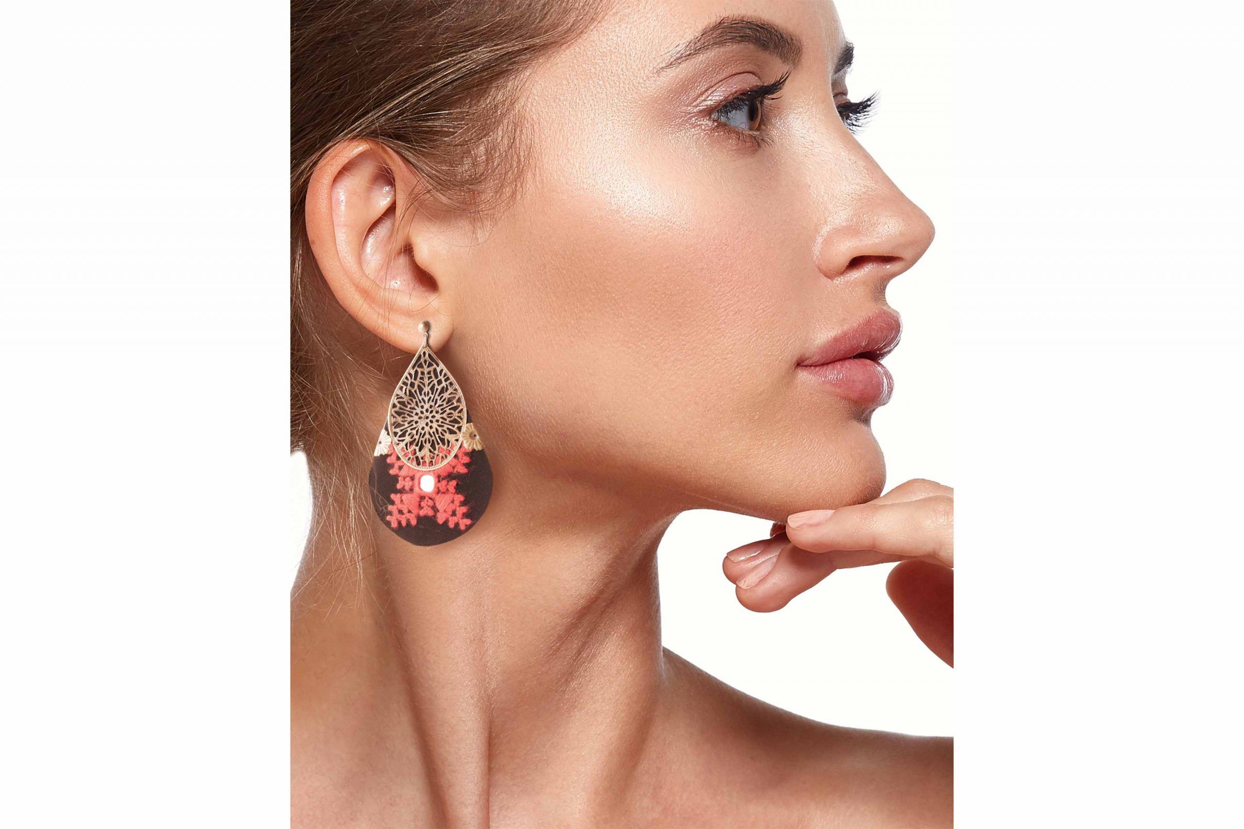 Persian Balochi Embroidery Earrings Teardrop Shape Black & Red With A Tiny Mirror In Centre & Grid Like Brass On Top
