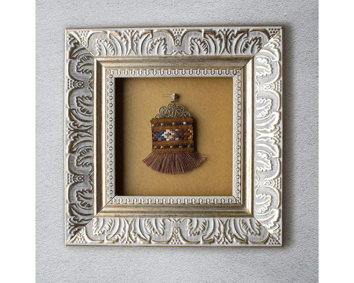 Persian Balochi Embroidery Earring With Brown Tassel And Geometric Pattern