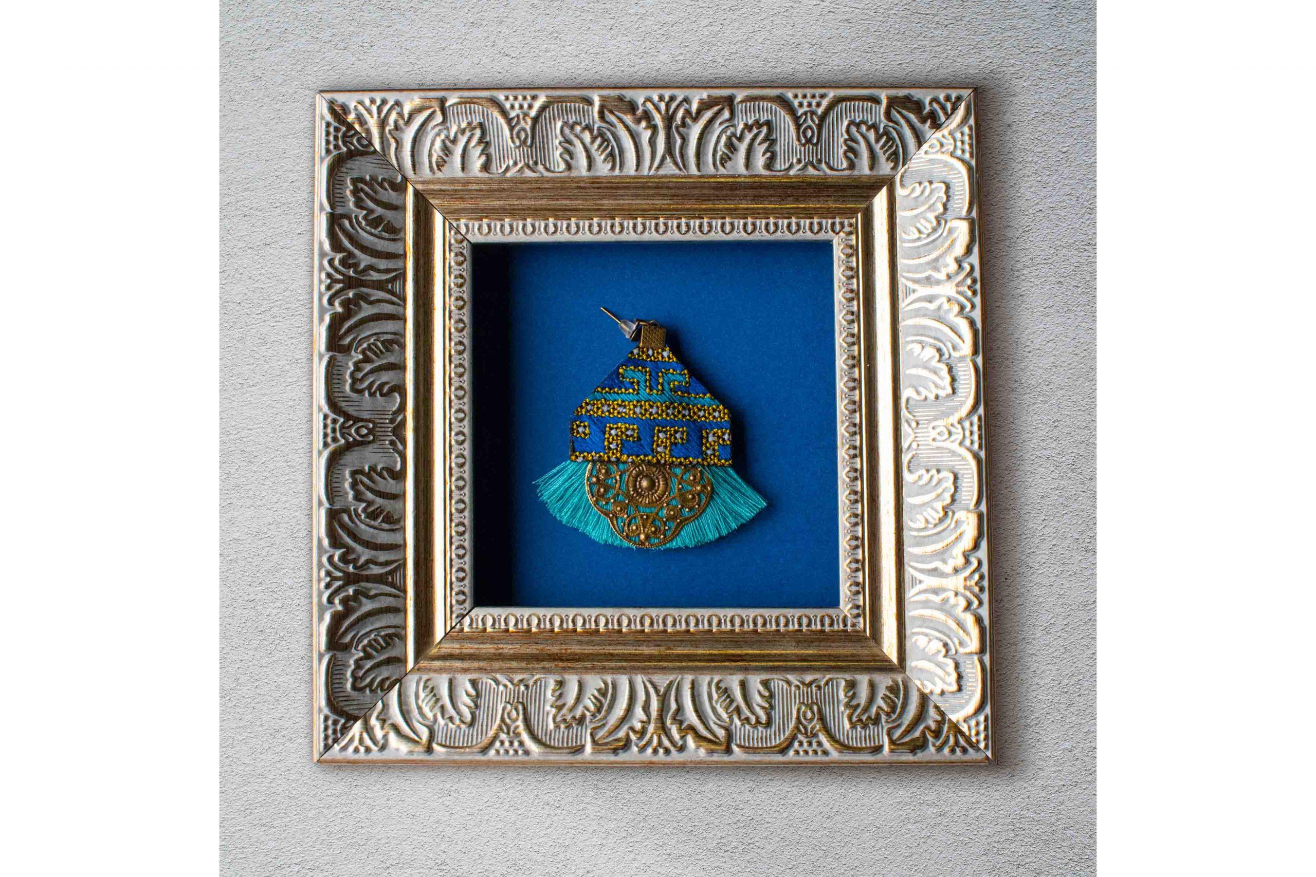 Embroidery Earring - Yellow Geometric - Blue Tassel