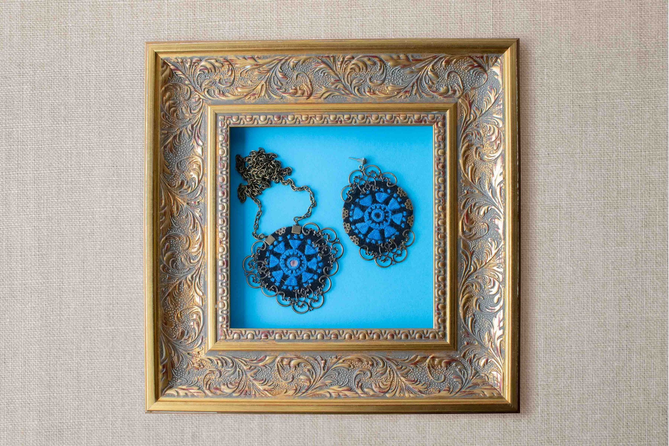 Persian Balochi Embroidery Set, Includes A Necklace And A Pair Of Earring, Floral Blue Pattern With Circular Shape Is Decorated With Tiny Mirror In The Centre