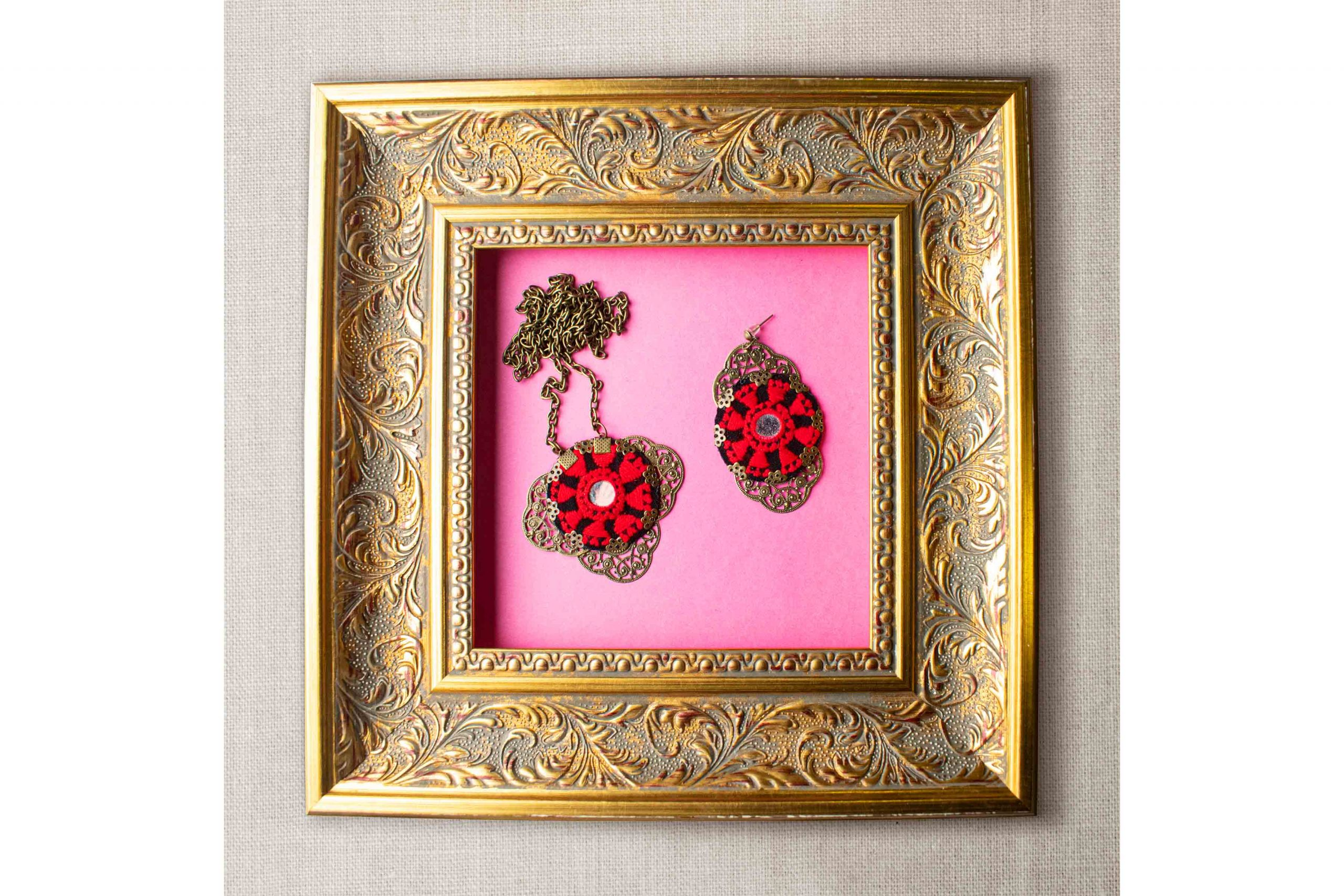 Persian Balochi Embroidery Set, Includes A Necklace and A Pair Of Earring, Floral Red Pattern With Circular Shape, It Is Decorated With A Tiny Mirror In Centre.