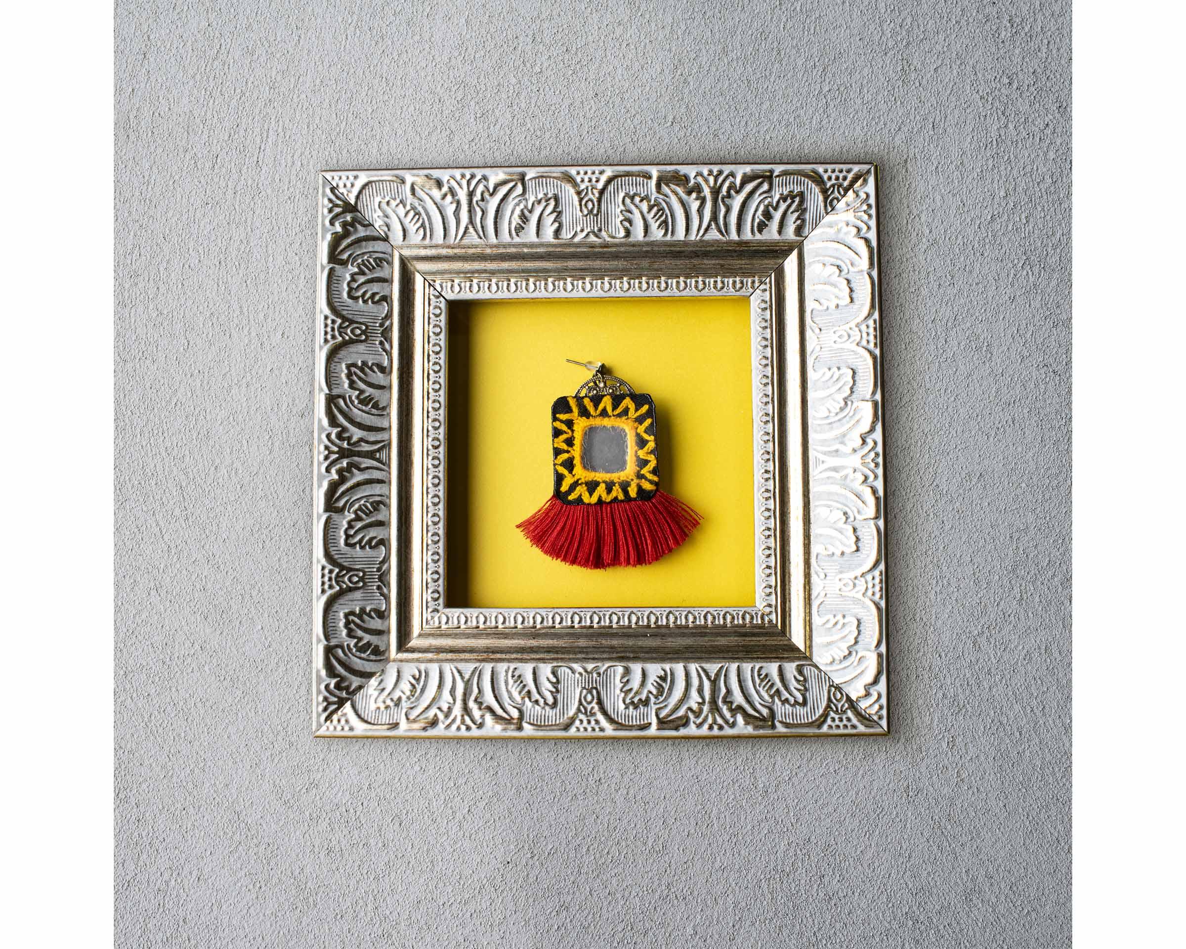 Balochi Embroidery Earring - Mirror & Tassel