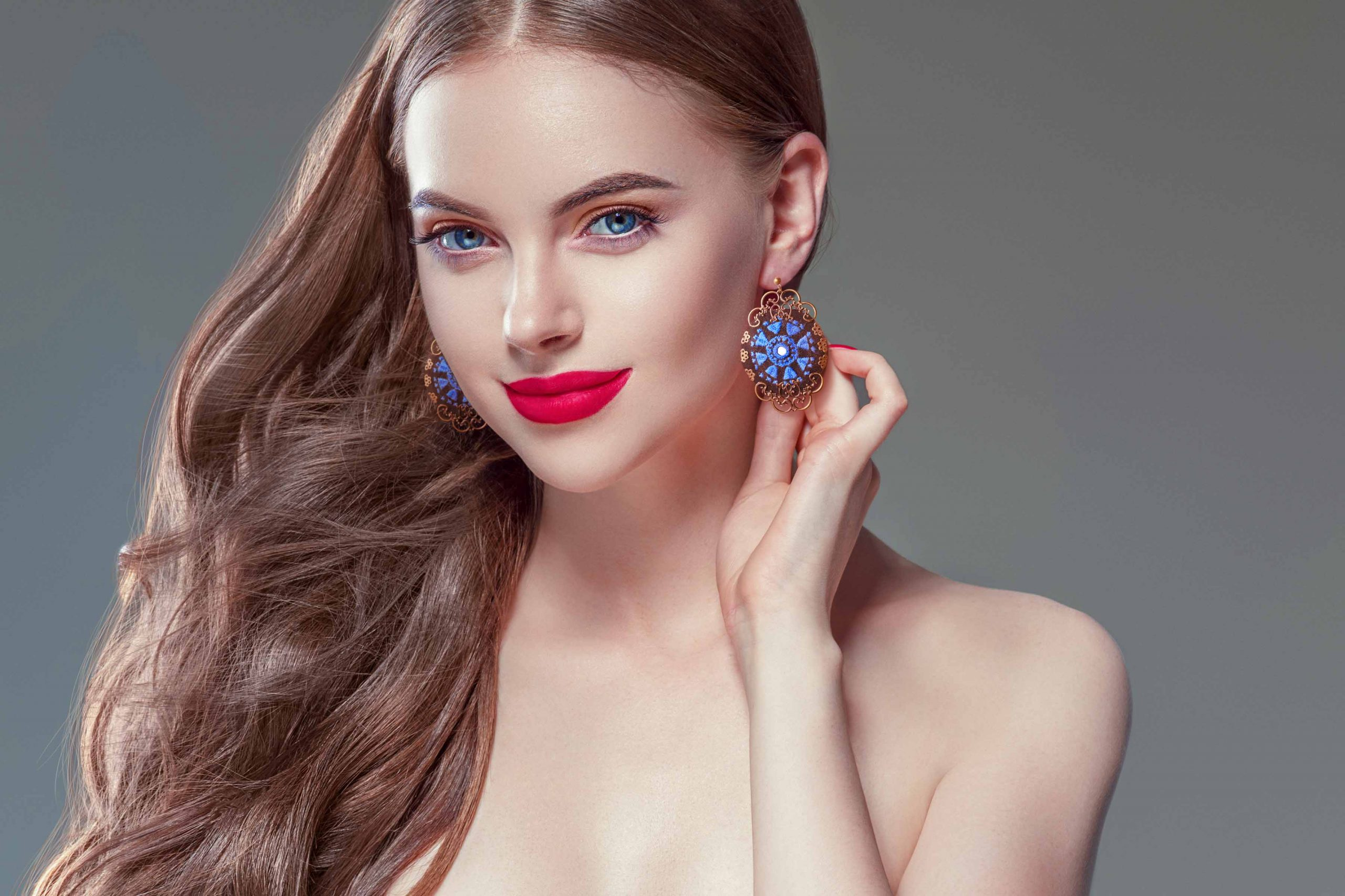 Persian Balochi Embroidery Earring, Floral Blue Pattern With Circular Shape Is Decorated With Tiny Mirror In The Centre