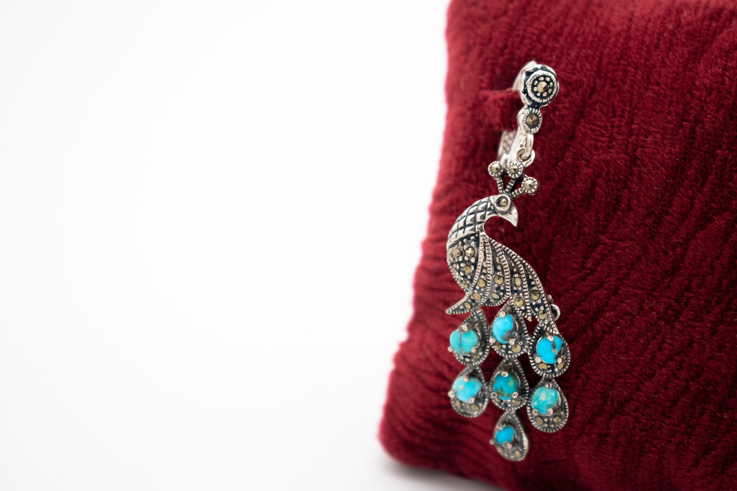 Persian Turquoise / Silver Earring - Peacock