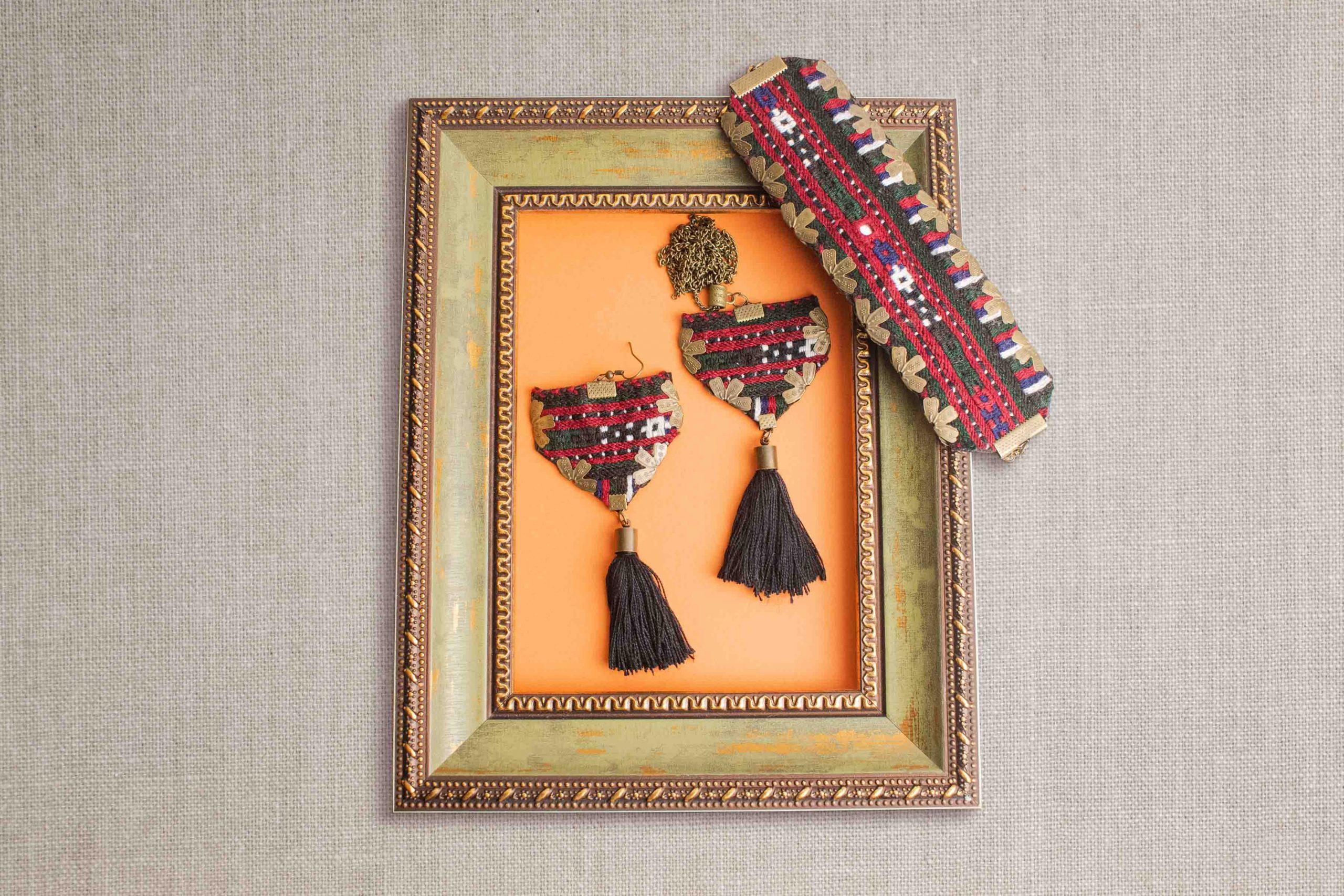 Ethnic Bolochi Embroidery Accessory Black Tassel