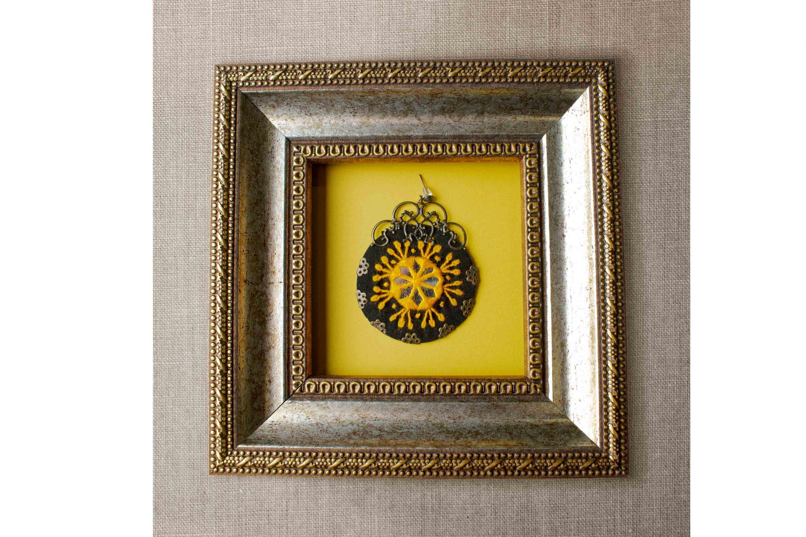 Ethnic Balochi Embroidery Earring - Yellow Mirror Circle