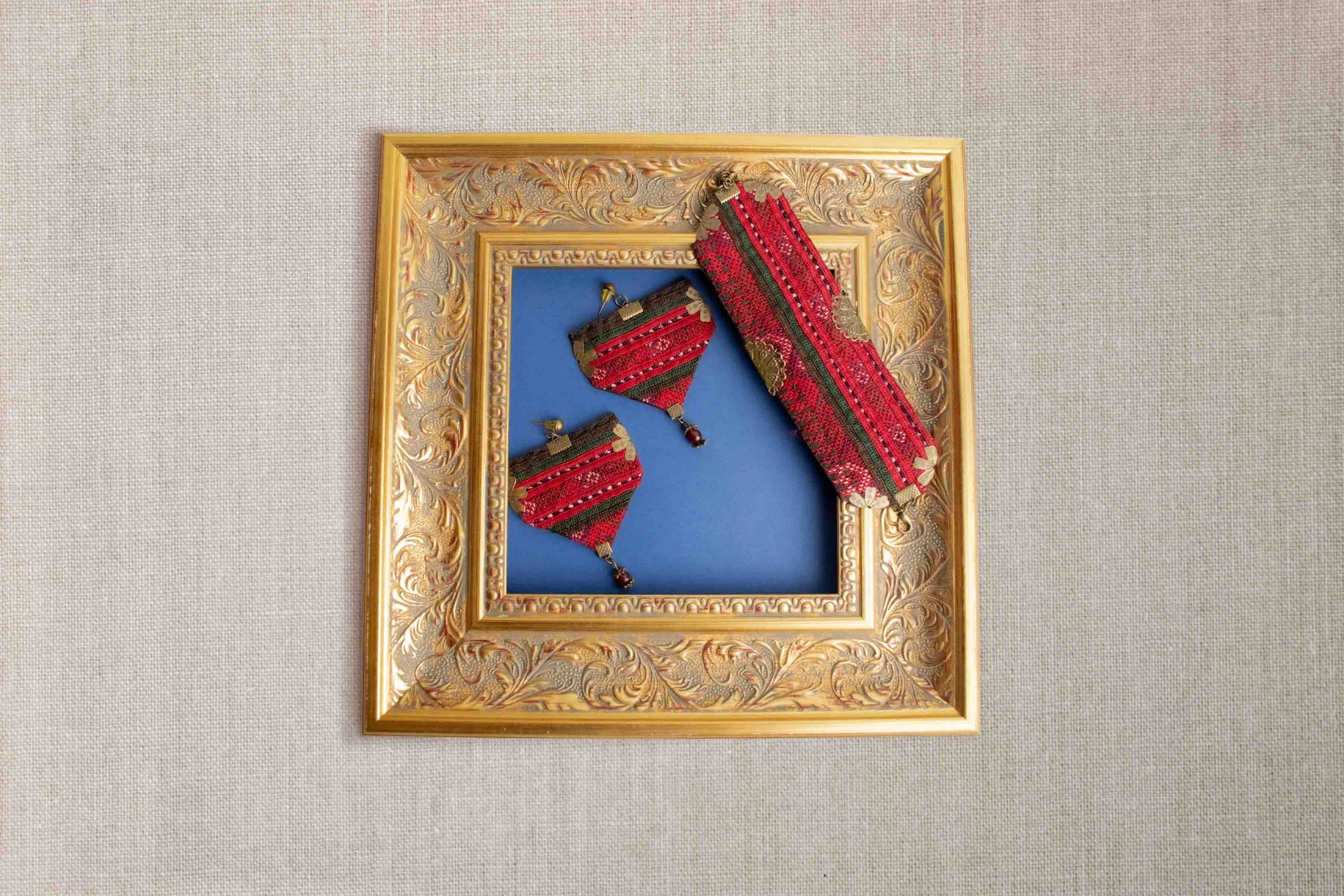 Ethnic Balochi Embroidery Set A Pair Of Earring & A Bracelet