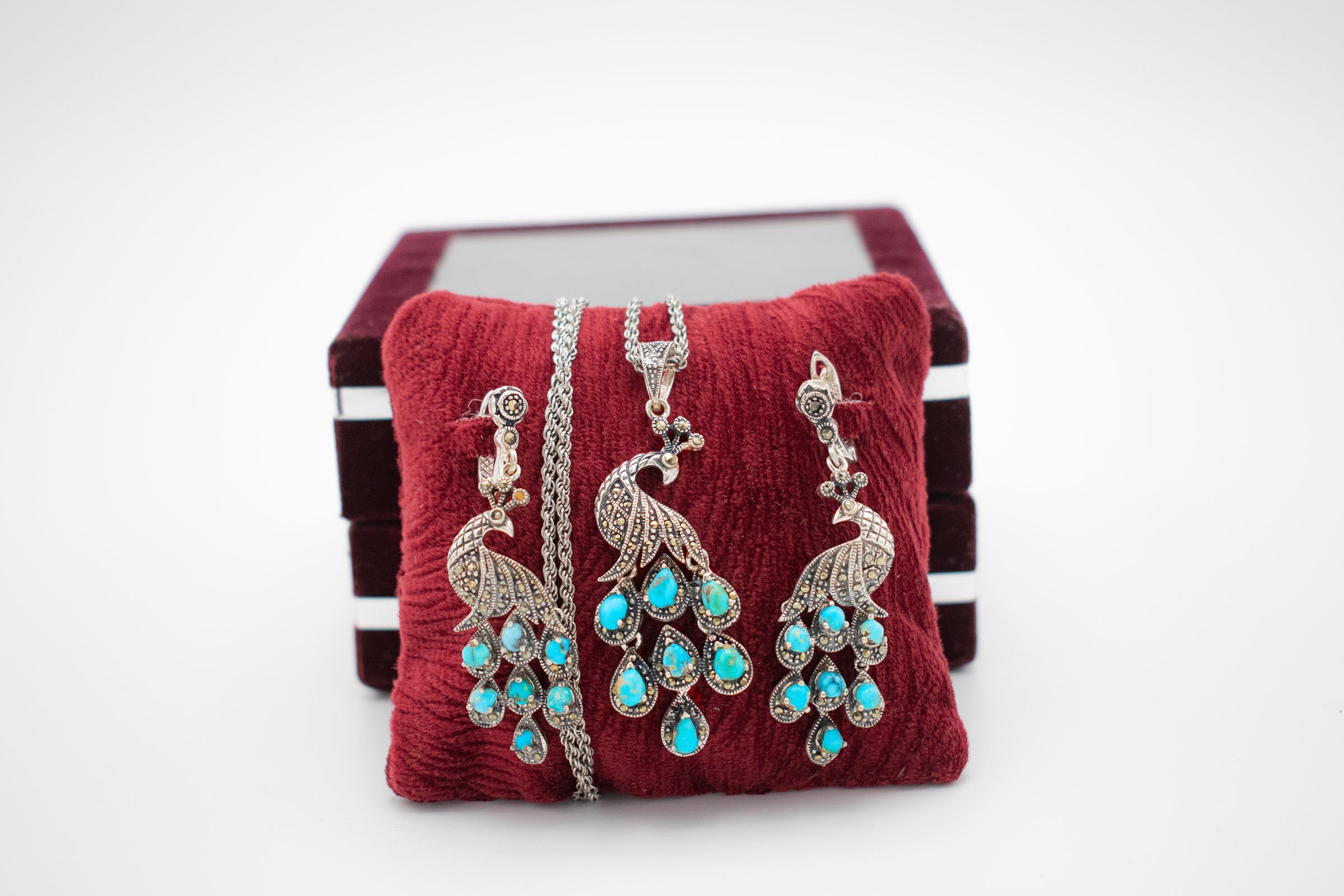 Persian Turquoise / Silver Jewellery Set - Peacock