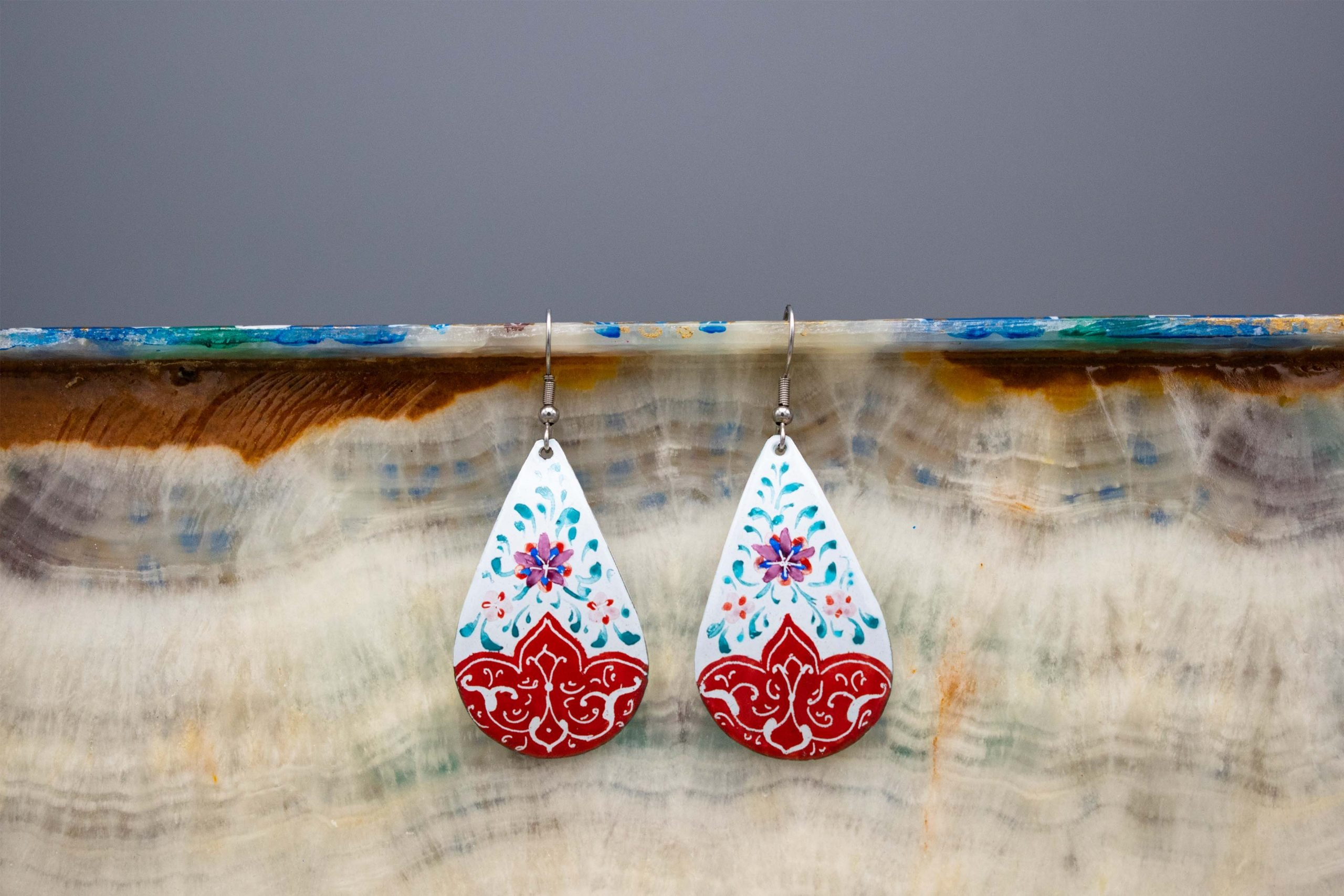 Persian Enamel Hand Painted Earring