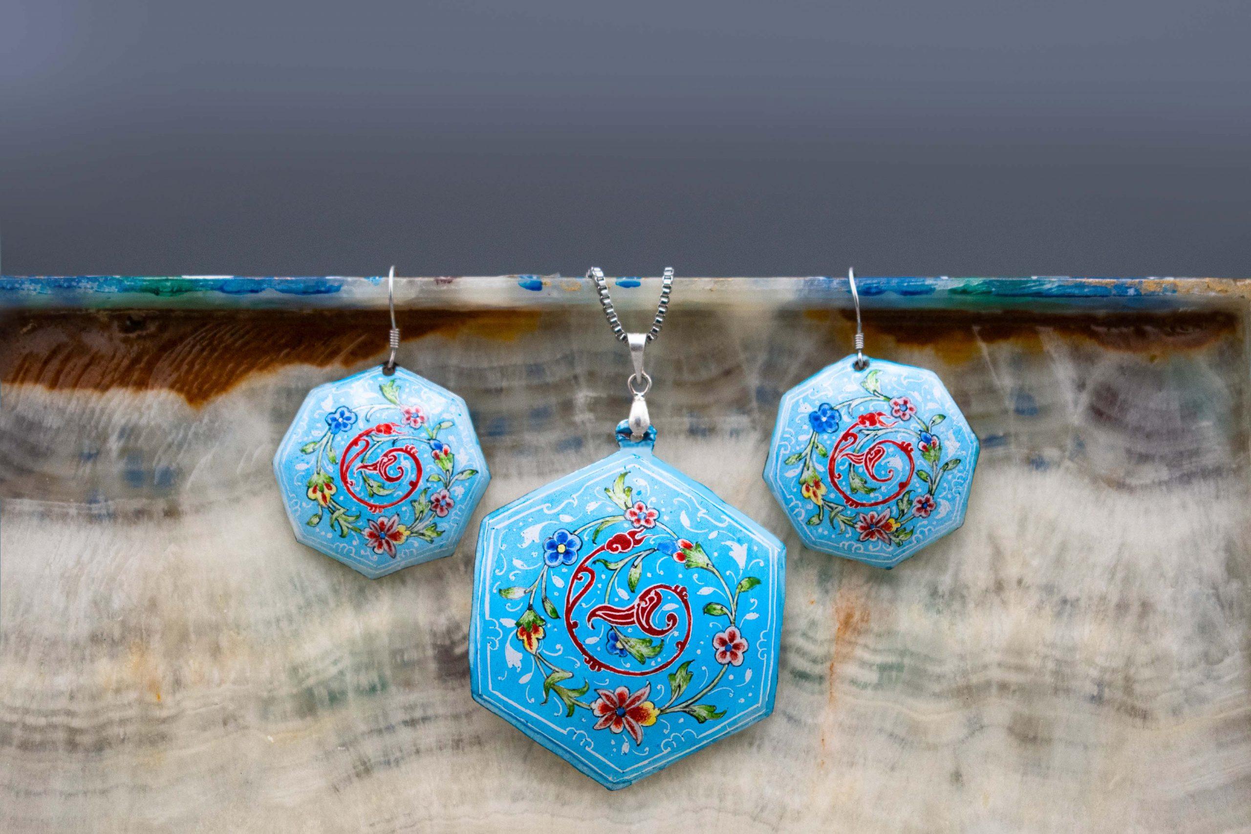 Persian Enamel Watercolour Painting Earring