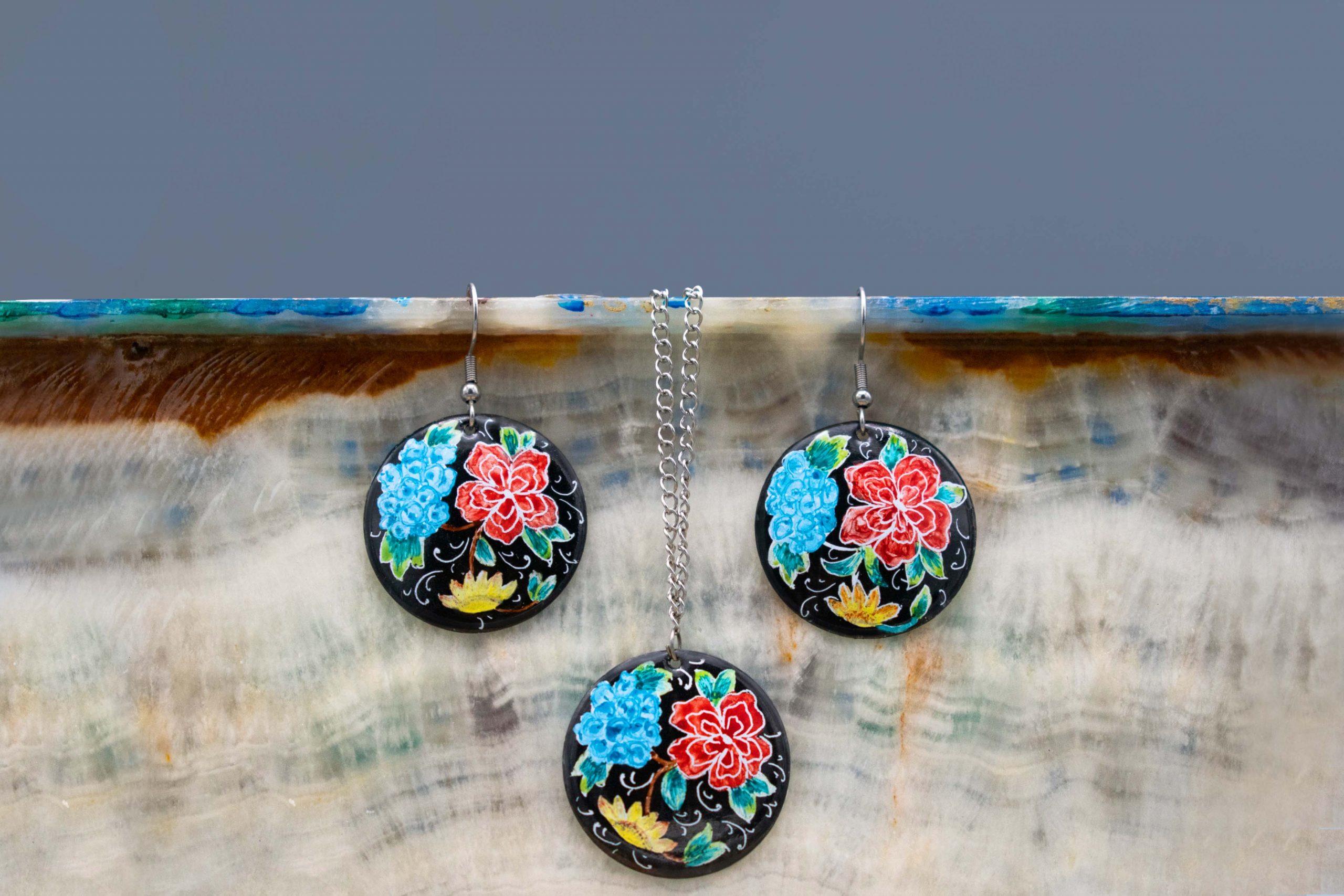 Persian Enamel Watercolour Painting Jewellery Set